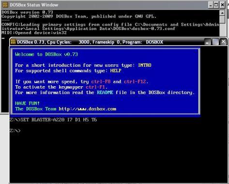 Opened DOSBOX Screen