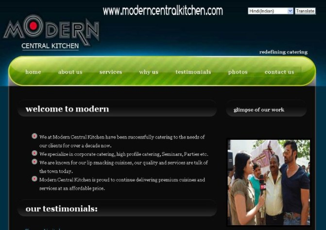 Catering Company Website development